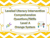 LLI Multiple Choice Short Answer Comprehension Skills Assessment Level A Orange