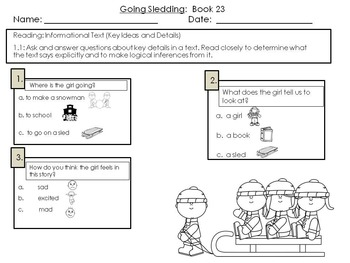 LLI Multiple Choice Short Answer Comprehension Skills Assessment Level A Orange