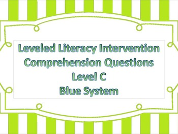 LLI Multiple Choice Short Answer Comprehension Skills Assessment Level C Blue