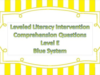 LLI Multiple Choice Short Answer Comprehension Skills Assessment Level E Blue