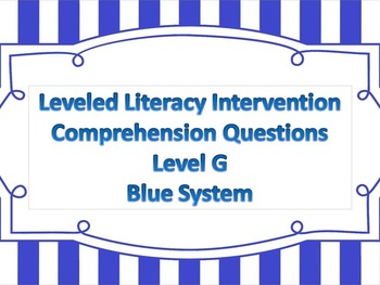 LLI Multiple Choice Short Answer Comprehension Skills Assessment Level G Blue