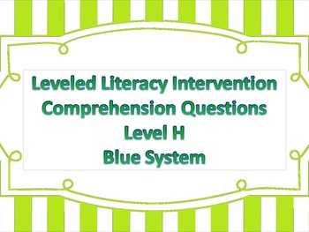 LLI Multiple Choice Short Answer Comprehension Skills Assessment Level H Blue