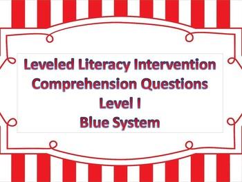LLI Multiple Choice Short Answer Comprehension Skills Assessment Level I Blue