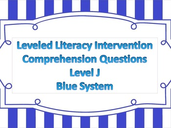 LLI Multiple Choice Short Answer Comprehension Skills Assessment Level J Blue