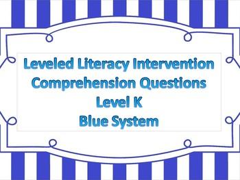 LLI Multiple Choice Short Answer Comprehension Skills Assessment Level K Blue