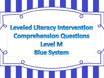 LLI Multiple Choice Short Answer Comprehension Skills Assessment Level M Blue