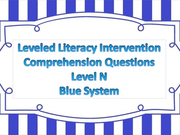 LLI Multiple Choice Short Answer Comprehension Skills Assessment Level N Blue