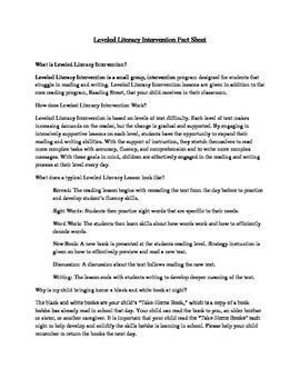 Leveled Literacy Intervention (LLI) Fact Sheet (Green and Blue Kits)