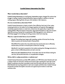 Leveled Literacy Intervention (LLI) Fact Sheet (Red and Gold Kits)