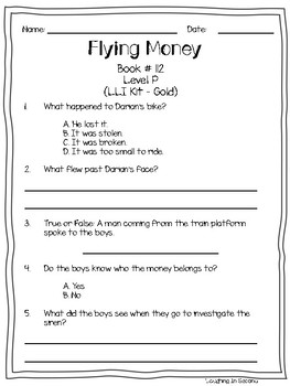 Leveled Literacy Intervention (LLI Gold) Comprehension Questions (111-120)