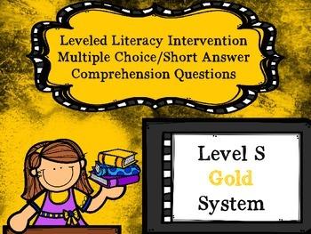 Leveled Literacy Intervention LLI Multiple Choice Short Answer Level S Gold