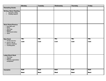Leveled Literacy Intervention Lesson Plan Form