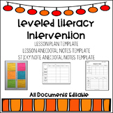 Leveled Literacy Intervention Lesson Plan Template and Ane
