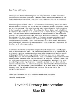 Leveled Literacy Intervention -blue Bundled G, H, I, J lessons & 79 comp pgs