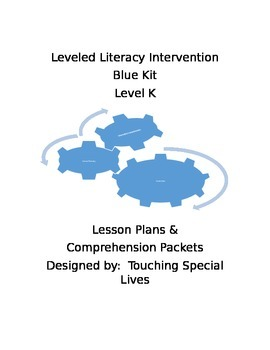 Leveled Literacy Intervention blue Level K lesson plans and 20 comprehension pgs