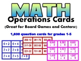 Leveled MATH computation (operations) cards for grades 1-5