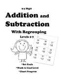 Leveled Math:  Addition and Subtraction with Regrouping: 7 Levels