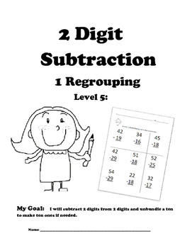 Leveled Math w/ Progress Chart: 2 Digit Subtraction with One Regrouping: Level 5