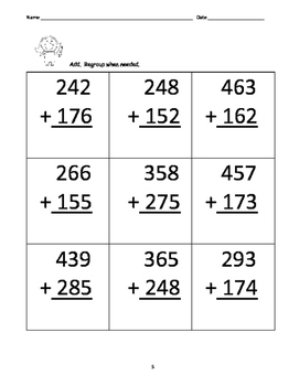 Leveled Math w/ Progress Chart: 3 Digit Addition with 2 Regroupings: Level 4