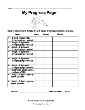 Leveled Math w/ Progress Chart: 3 Digit Subtraction with Two Regroupings Level 7