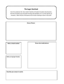 Leveled Mixed Number Fractions Word Problems Printable