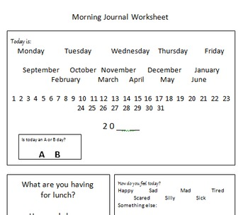 Special Education- Leveled Morning Journal Templates