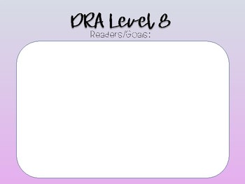 DRA Leveled Pages for Tracking Students