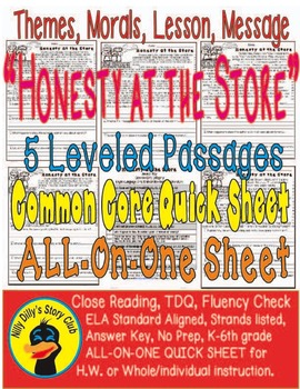 """Honesty"" Leveled Passages (5) Theme Moral Lesson Message Story ALL-ON-ONE Sheet"