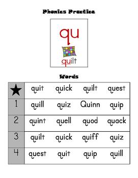Leveled Phonics Reading Practice - qu sound