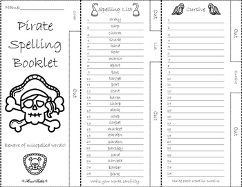 Pirate Leveled Spelling Activity