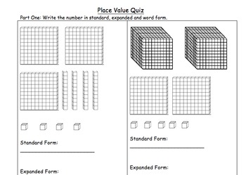 Leveled Place Value Quiz - Standard, Expanded, Word Form,