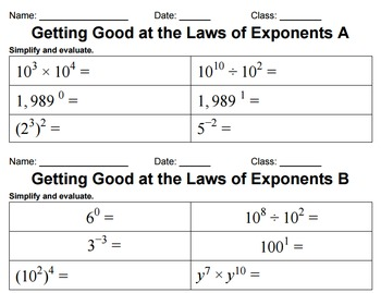Leveled Properties of Exponents Practice
