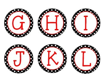 Guided/Leveled Reading Library Labels {Black & White Polka Dot with Red}
