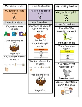 Leveled Reading Bookmarks A-Z