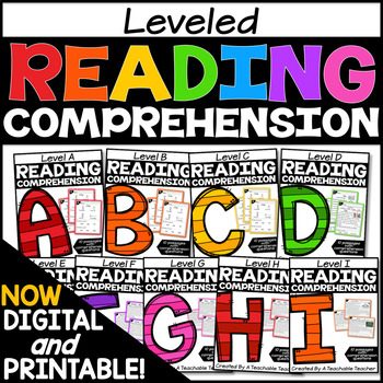 Leveled Reading Comprehension Passages and Questions Bundle A-I