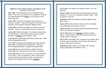 Leveled Reading Passages for Differentiated Learning: Berlin Airlift