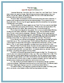 Leveled Reading Passages for Differentiated Learning: The Cold War