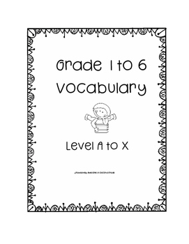 Leveled Reading Vocabulary Grade 1 to 6