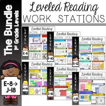 Guided Reading Work Stations Bundle for Levels E to J