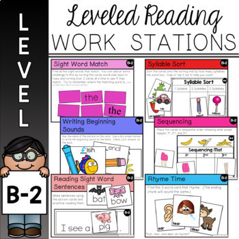 Guided Reading Leveled Work Stations - Bundle Pre-A - D (Pre-A - DRA 6)