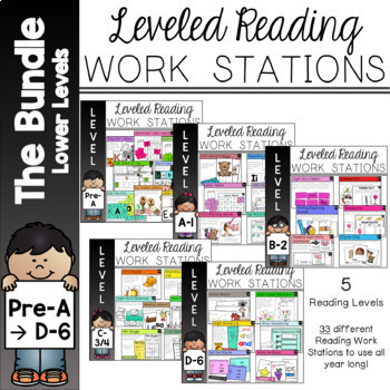 Guided Reading Work Stations Bundle Pre A to D