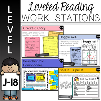 Guided Reading Leveled Work Stations - Level J (DRA 18)