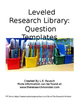 Leveled Research Library Question Templates EDITABLE