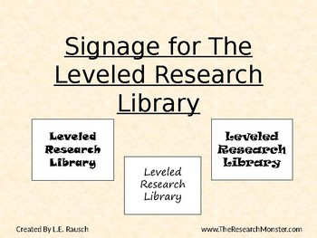 Leveled Research Library Signage
