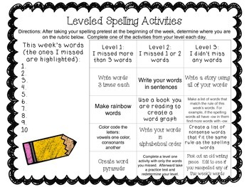 Leveled Spelling Activities