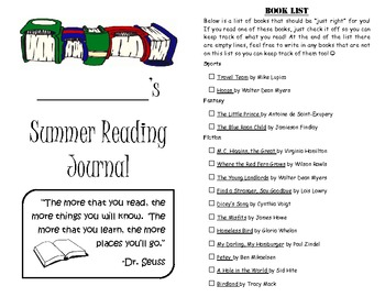 Leveled Summer Reading Journal--Books at a F&P Level X