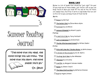 Leveled Summer Reading Journal--Books at a F&P Level Y