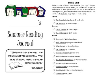 Leveled Summer Reading Journal--Books at a F&P Level Z