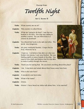 Leveled Texts Shakespeare--Twelfth Night-Act I, Scene II