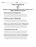 Leveled Thanksgiving Questions for Centers (Advanced)
